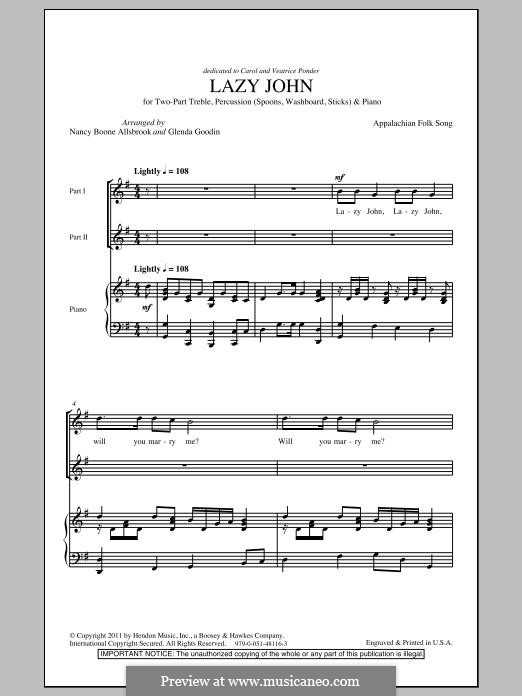 Lazy John: For mixed choir by folklore