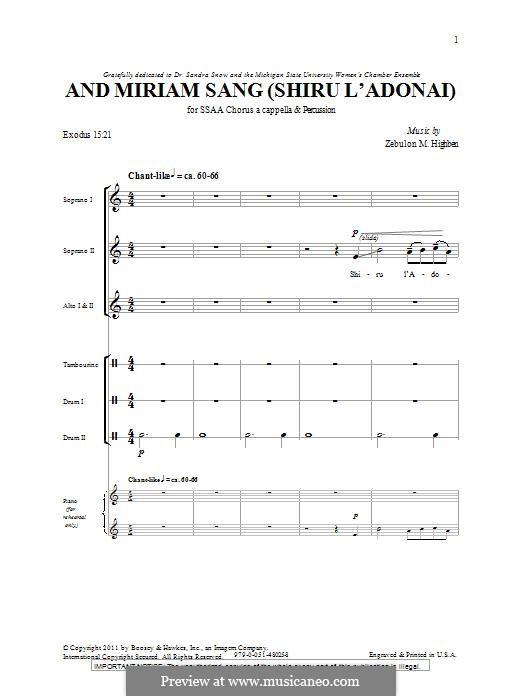 And Miriam Sang (Shiru L'Adonai): SSA by Zebulon M. Highben