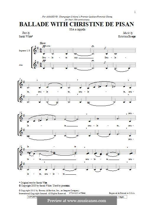 Ballade with Christine de Pisan: SSA by Kristina Boerger