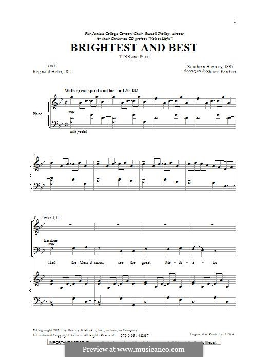 Brightest and Best: For male choir by folklore