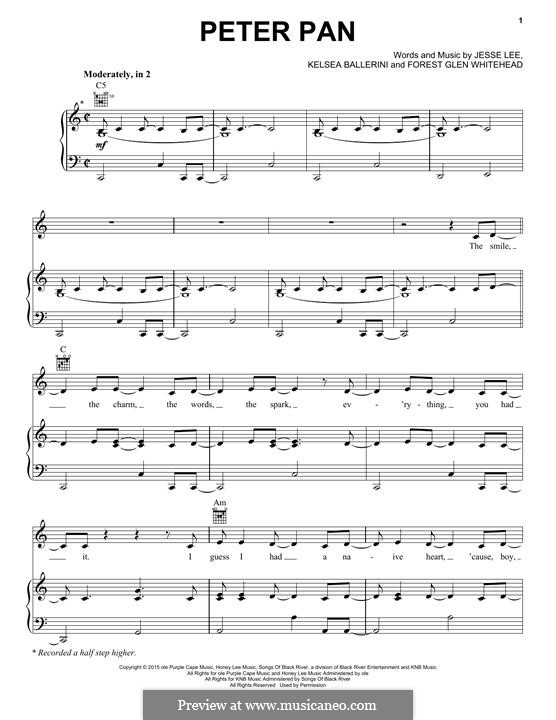 Peter Pan: For voice and piano (or guitar) by Kelsea Ballerini, Forest Glen Whitehead, Jesse Lee