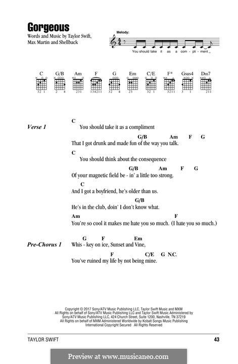 Gorgeous: Lyrics and chords by Shellback, Max Martin, Taylor Swift