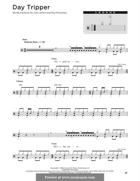 Day Tripper (The Beatles): Drum set by John Lennon, Paul McCartney