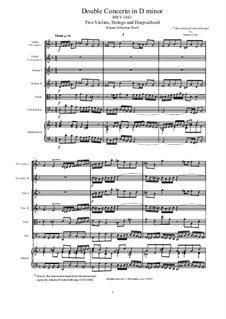 Double Concerto for Two Violins, Strings and Basso Continuo in D Minor, BWV 1043: Score, parts by Johann Sebastian Bach