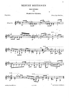 Minuet in E Major: For Guitar by Ludwig van Beethoven