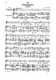Le berceuse (Slumber Song), D.527 Op.24 No.2: For low voice and piano by Franz Schubert