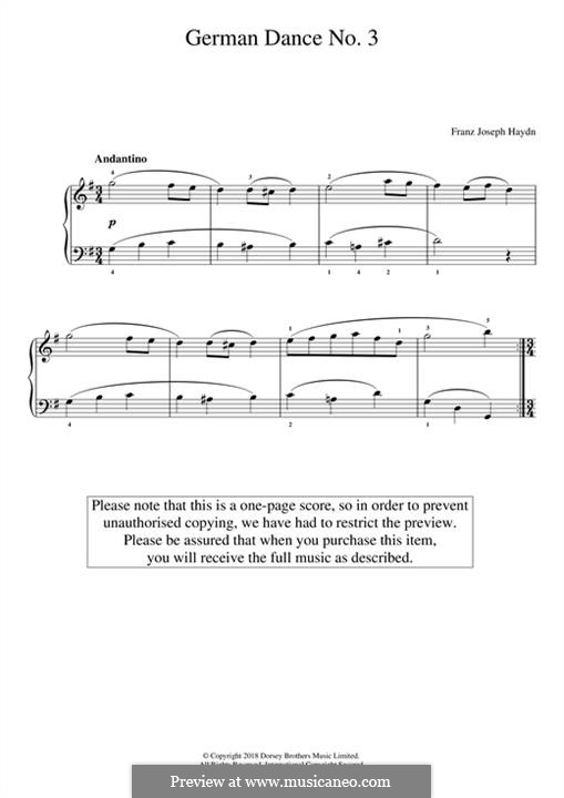 German Dance No.3: For piano by Joseph Haydn