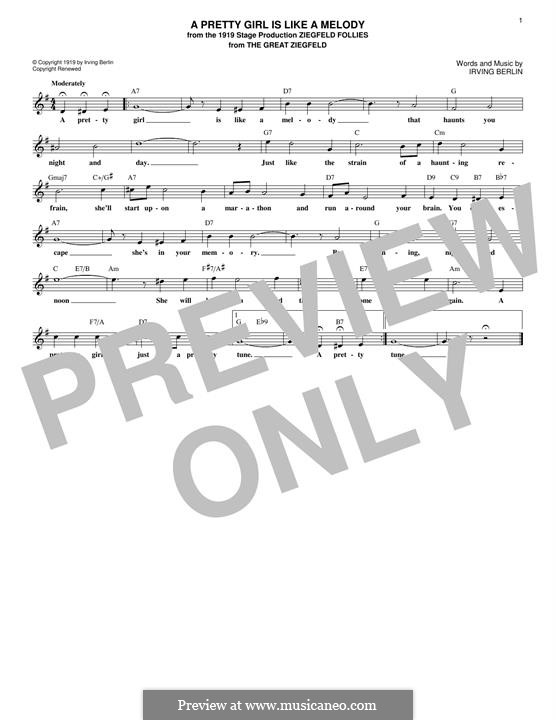 A Pretty Girl is Like a Melody: Melody line by Irving Berlin