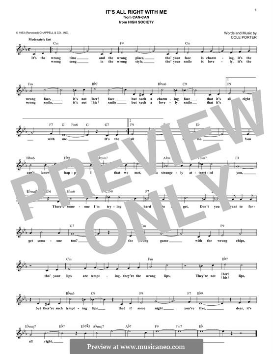It's All Right with Me: Melody line by Cole Porter