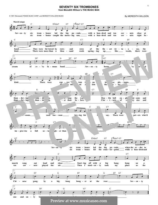 Seventy Six Trombones: Melody line by Meredith Willson