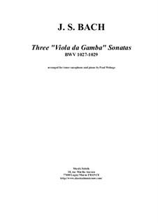 Three Sonatas for Viola da gamba and Harpsichord, BWV 1027-1029: Arrangement for tenor saxophone and piano by Johann Sebastian Bach