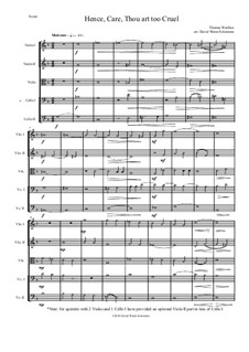 Hence, Care, Thou art too cruel: For string quintet by Thomas Weelkes