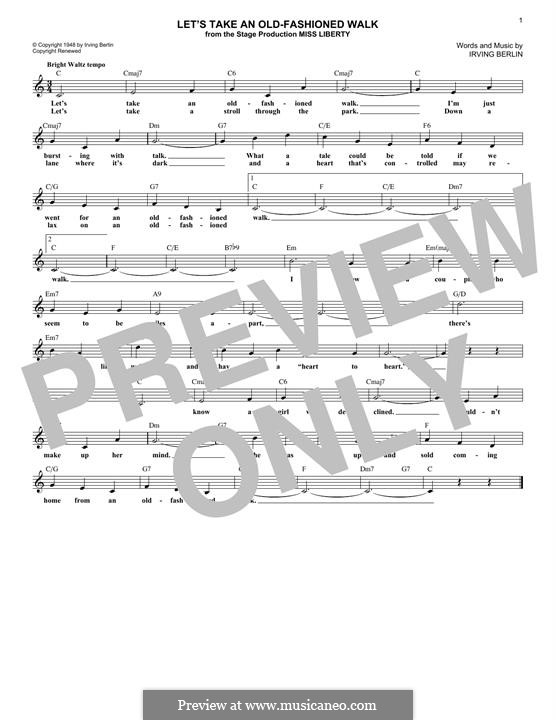 Let's Take an Old-Fashioned Walk: Melody line by Irving Berlin