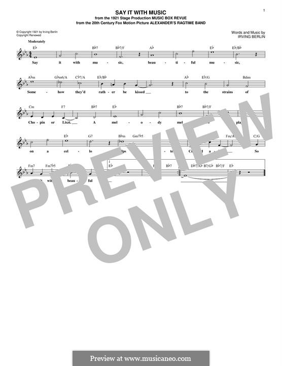 Say It with Music: Melody line by Irving Berlin