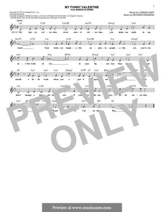 My Funny Valentine: Melody line by Richard Rodgers
