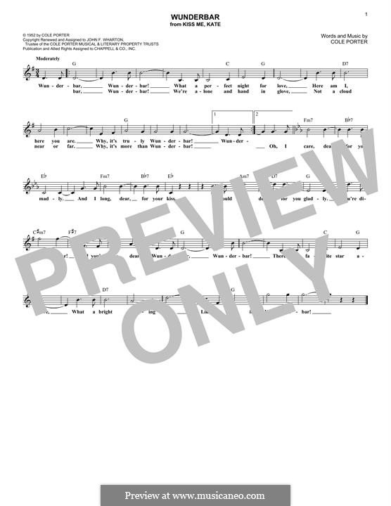 Wunderbar: Melody line by Cole Porter