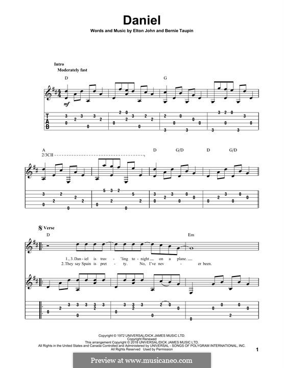 Daniel: For guitar with tab by Elton John