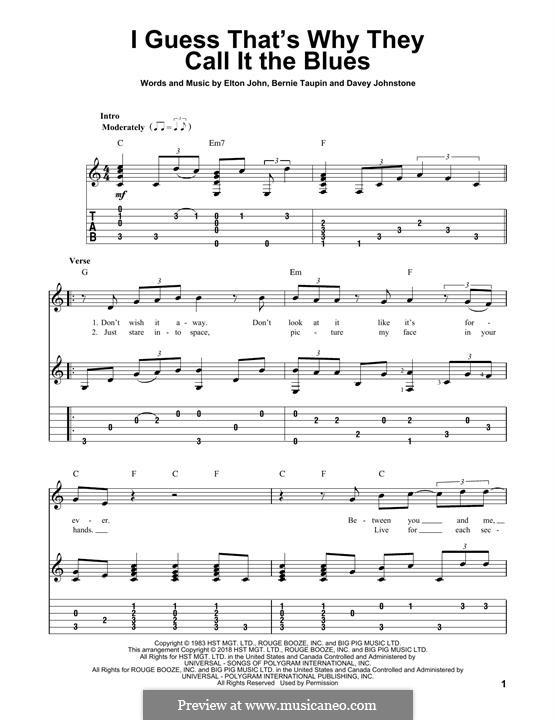 I Guess That's Why They Call It the Blues: For guitar with tab by Davey Johnstone, Elton John
