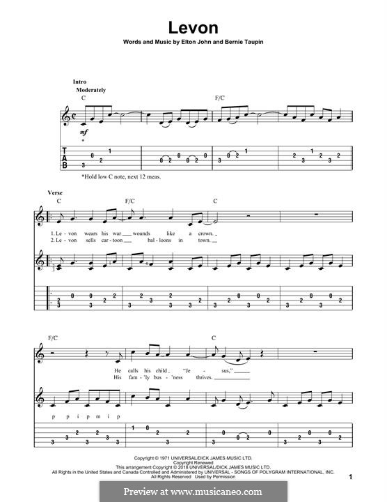 Levon: For guitar with tab by Elton John