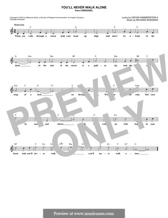 You'll Never Walk Alone (from Carousel): Melody line by Richard Rodgers