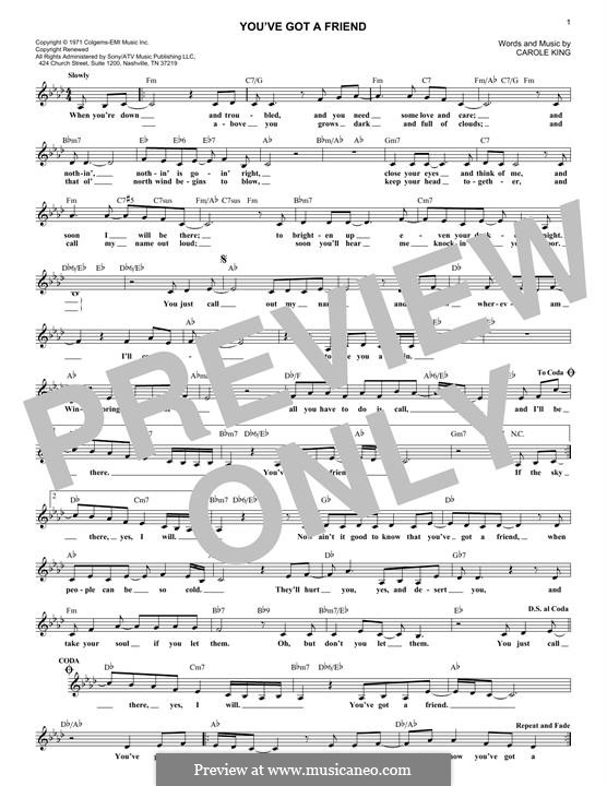 You've Got a Friend: Melody line by Carole King