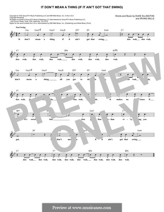 It Don't Mean a Thing (If It Ain't Got That Swing): Melody line by Irving Mills, Duke Ellington