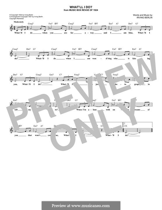 What'll I Do? (from Music Box Revue of 1924): Melody line by Irving Berlin