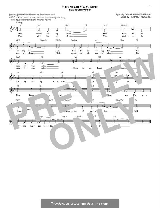 This Nearly Was Mine (from South Pacific): Melody line by Richard Rodgers