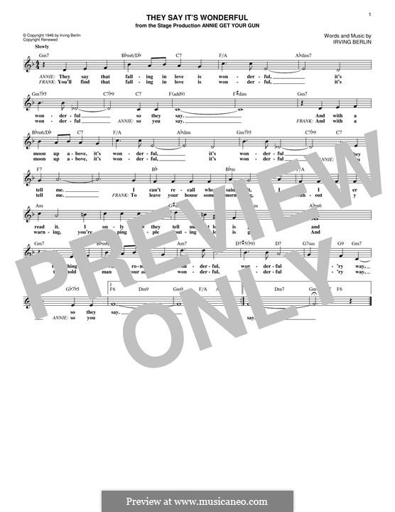They Say It's Wonderful: Melody line by Irving Berlin