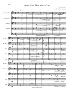 Hence, Care, Thou art too cruel: For brass quintet by Thomas Weelkes