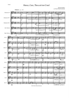 Hence, Care, Thou art too cruel: For clarinet quintet (E flat, 2 B flats, Alto and Bass) by Thomas Weelkes