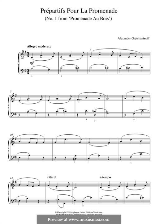 Prépartifs pour la Promenade (No.1 from 'Promenade au Bois'): For piano by Alexander  Grechaninov