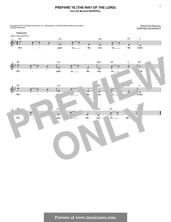 Prepare Ye (The Way of the Lord): Melody line by Stephen Schwartz