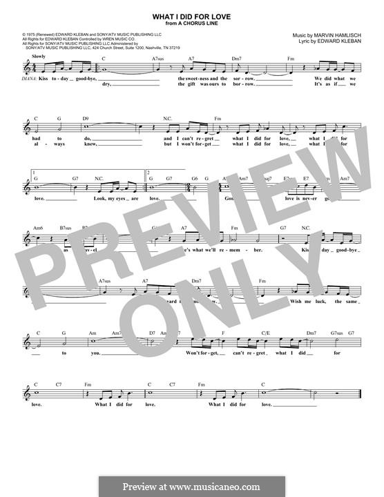 What I Did for Love (Priscilla Lopez): Melody line by Marvin Hamlisch