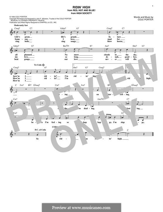 Ridin' High: Melody line by Cole Porter