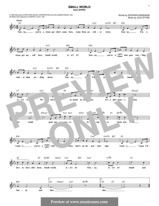 Small World: Melody line by Jule Styne