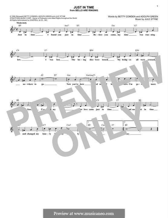 Just in Time (Frank Sinatra): Melody line by Jule Styne
