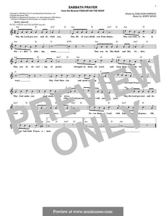 Sabbath Prayer: Melody line by Jerry Bock