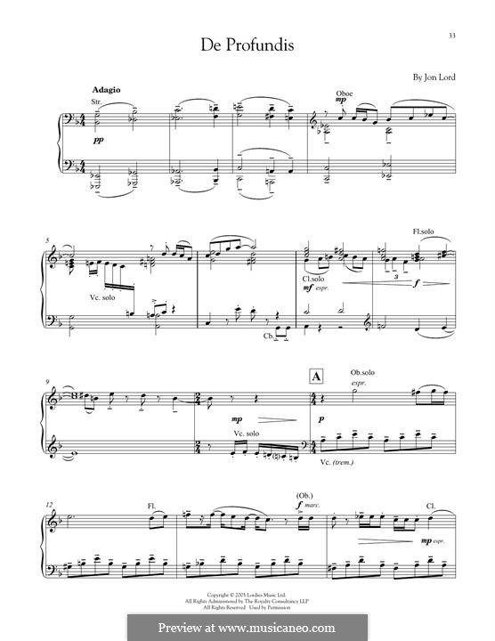 De Profundis: For piano by Jon Lord