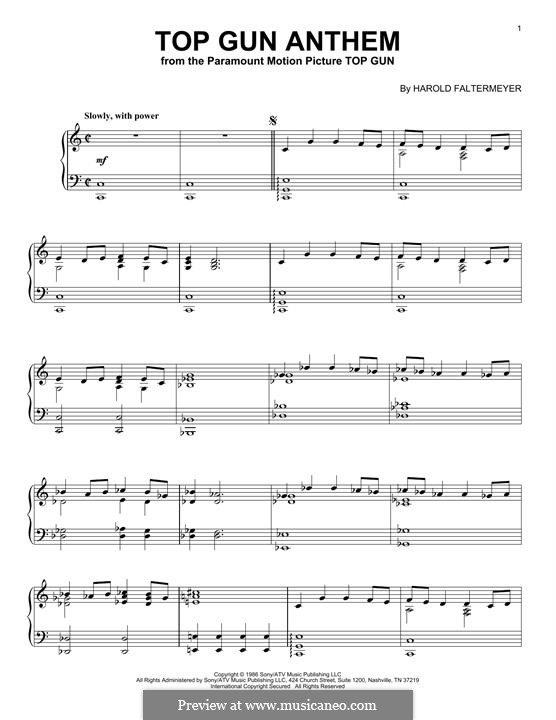 Top Gun (Anthem): For piano by Harold Faltermeyer