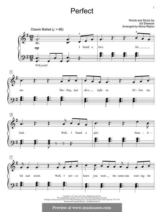 Perfect: For piano by Ed Sheeran
