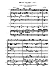 Concerto for Harpsichord and Strings No.5 in F Minor, BWV 1056: Score, parts by Johann Sebastian Bach