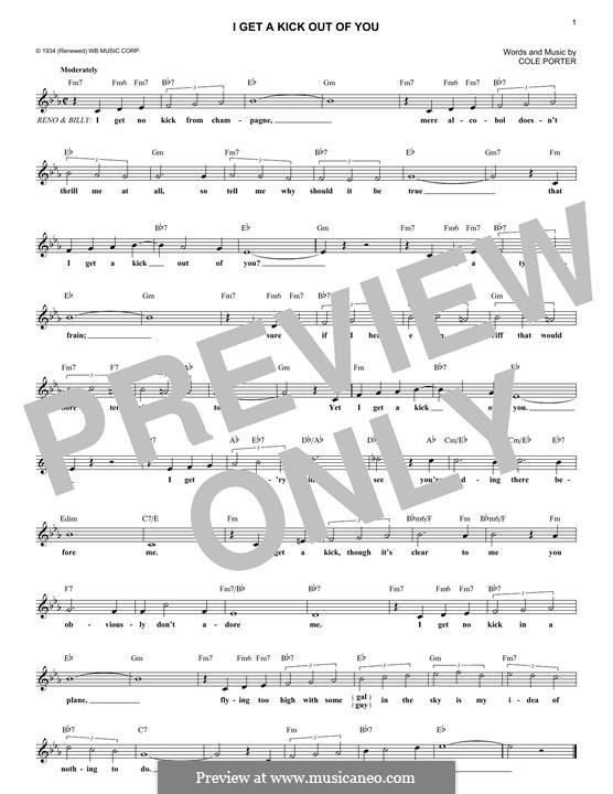 I Get a Kick Out of You (Frank Sinatra): Melody line by Cole Porter