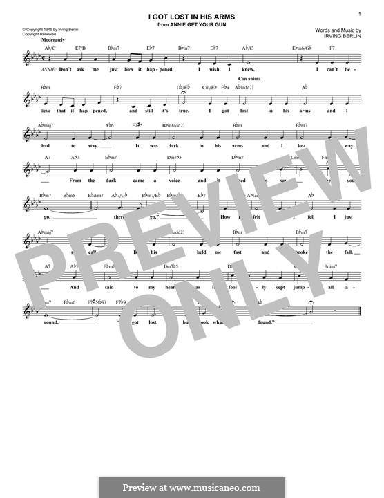 I Got Lost in His Arms: Melody line by Irving Berlin
