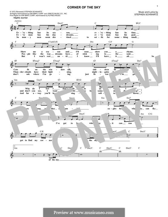 Corner of the Sky (from Pippin): Melody line by Stephen Schwartz