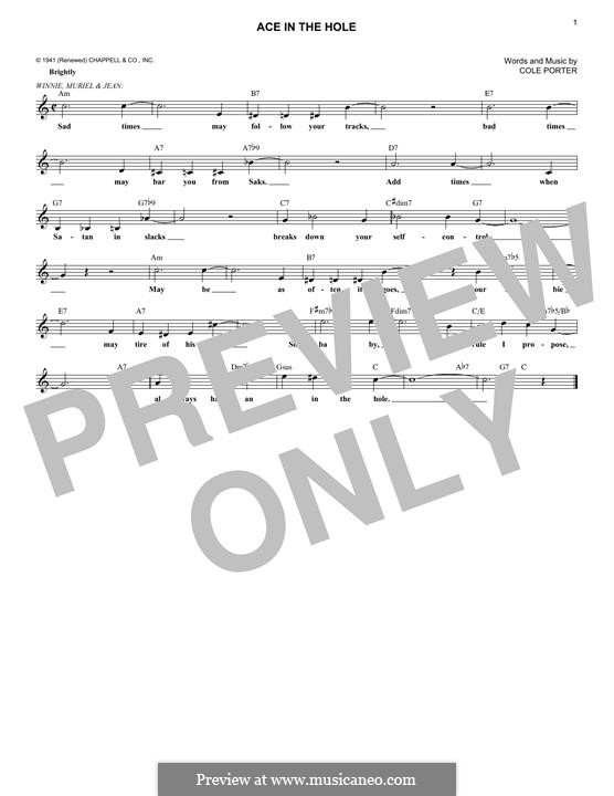 Ace in the Hole: Melody line by Cole Porter