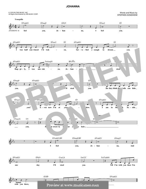 Johanna: Melody line by Stephen Sondheim