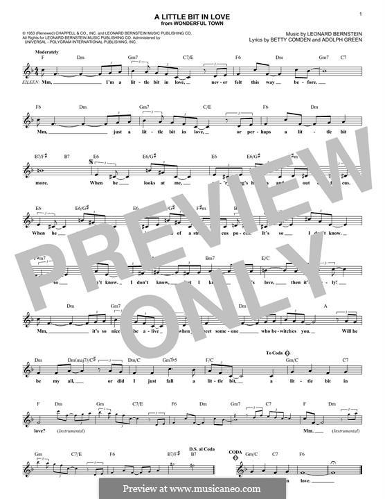 A Little Bit in Love: Melody line by Leonard Bernstein