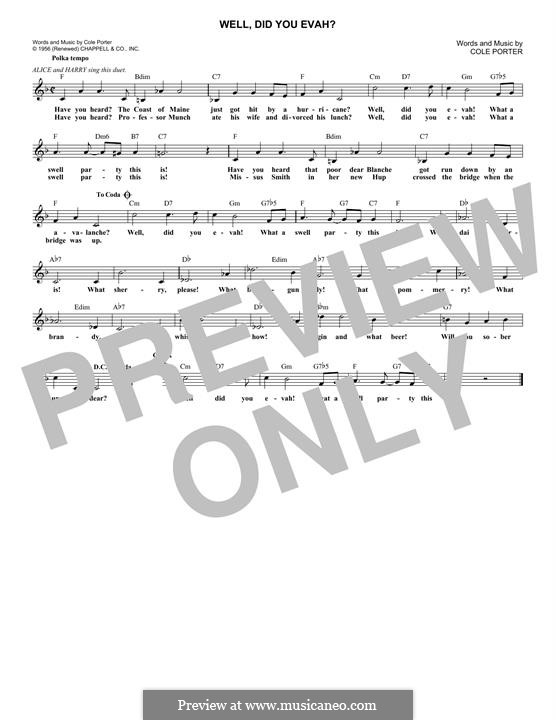 Well, Did You Evah: Melody line by Cole Porter