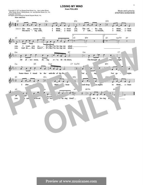 Losing My Mind: Melody line by Stephen Sondheim